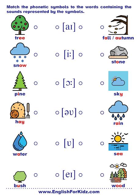 Phonics worksheet - matching vowels to sound symbols
