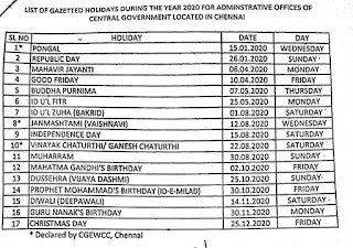 LIST OF GAZETTED HOLIDAYS DURING THE YEAR 2020 FOR ADMINISTRATIVE OFFICES OF CENTRAL GOVERNMENT LOCATED IN CHENNAI