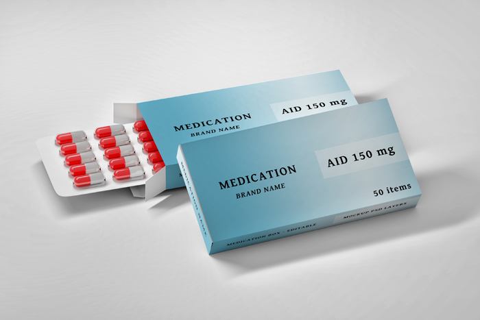 Stationery Editable Psd Mockup With Medication Boxes Pills
