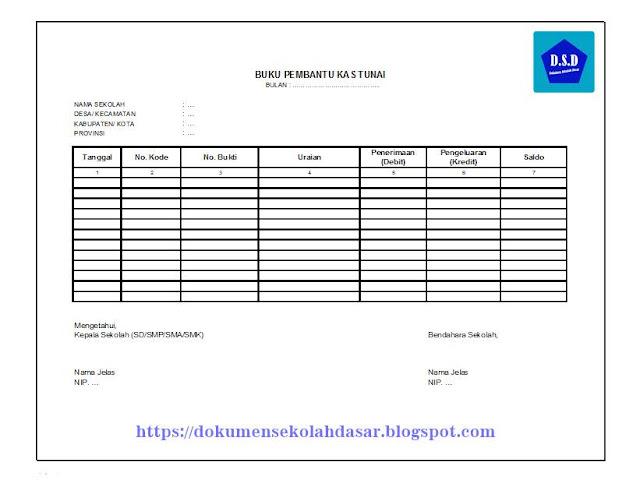 gambar contoh format buku pembantu kas tunai (untuk pengelolaan/pencatatan keuangan sekolah terkait bantuan operasional sekolah atau bos)