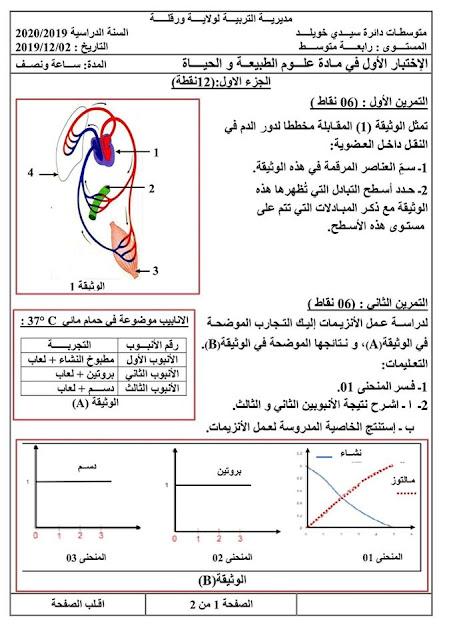 موضوع اختبار العلوم الطبيعية للسنة الرابعة متوسط للفصل الاول الجيل الثاني