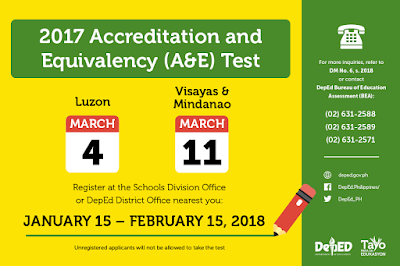 March 2018 ALS A&E Test Registration and Examination Schedule
