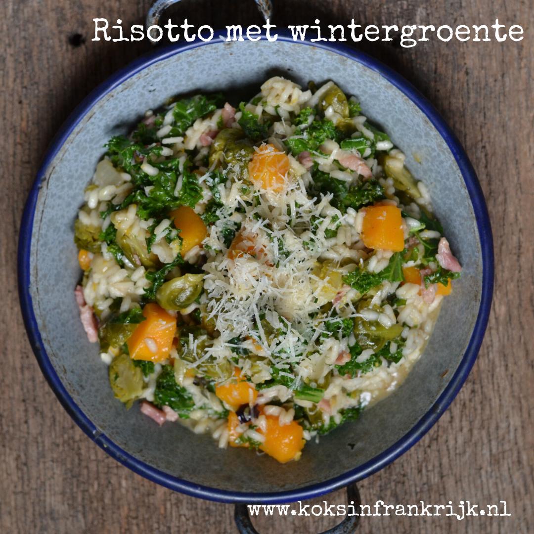 Winterse Risotto met boerenkool, spruitjes en pompoen