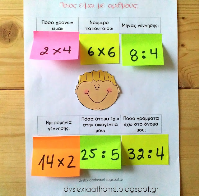Ποιός είμαι με αριθμούς; Άσκηση μαθηματικών σχέσεων στη δυσαριθμησία