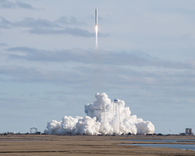 The Northrop Grumman Antares rocket, with Cygnus resupply spacecraft onboard, launches from Pad-0A, Saturday, Feb. 15, 2020 at NASA's Wallops Flight Facility in Virginia.