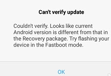 Can't Verify Update. Current Android Version is Different from that in the Recovery