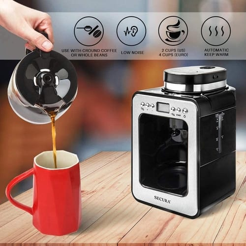 Secura Programmable Automatic Coffee Maker with Grinder