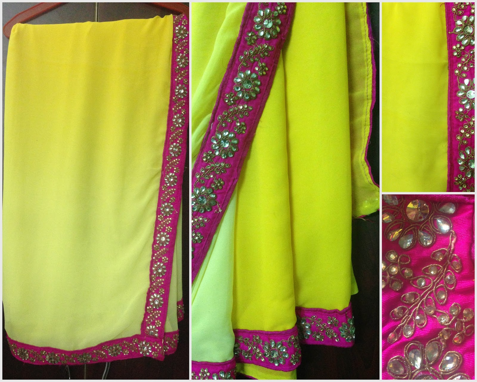 Lemon Yellow Colour Dual Shade In The Combination Of Light And Dark Shades Gives You Elegant Look It Comes With A Pink Border