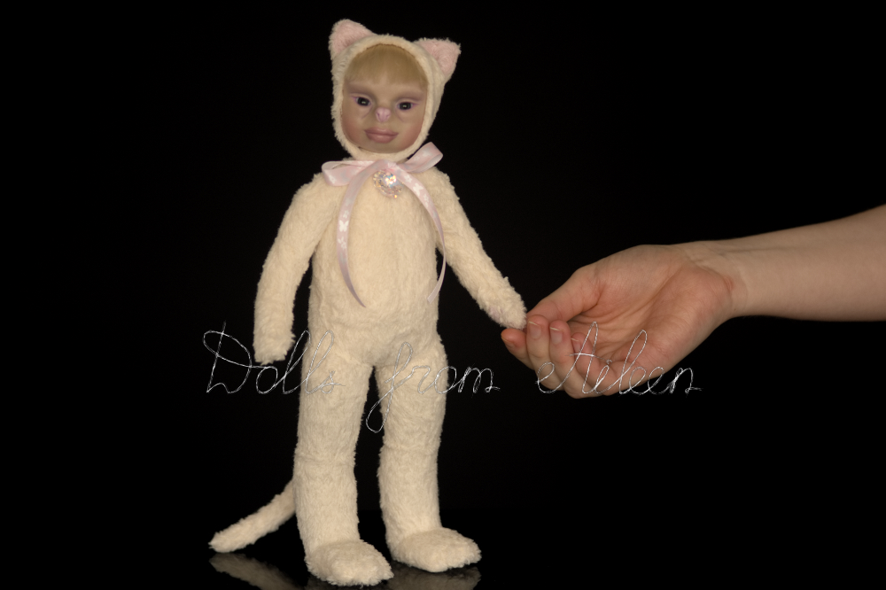 ooak artist teddy cat doll with human hand