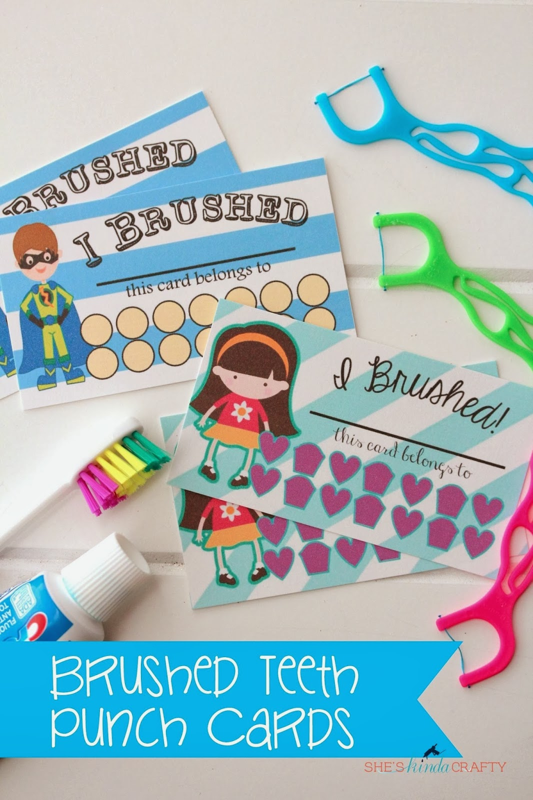I Brushed My Teeth Punch Cards Free Printable