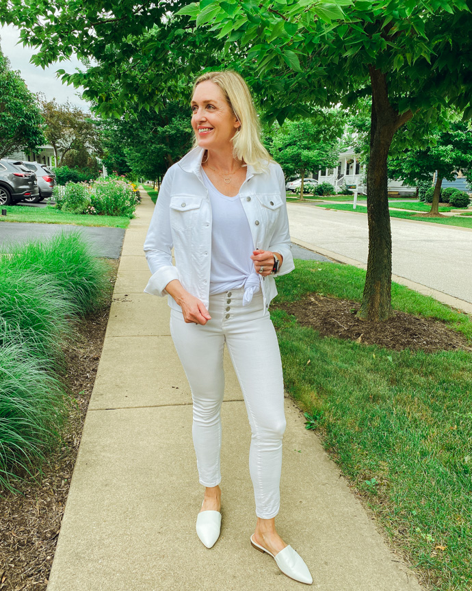 white denim jacket monochrome outfit