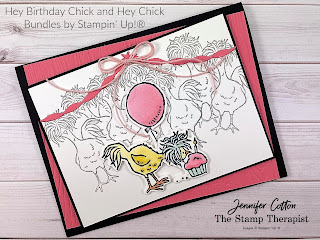 Stampin' Up!'s Hey Birthday Chick Bundle and Hey Chick Bundle.  I demonstrated this card on the video (link on blog) including the masking technique on this card.  #StampinUp #StampTherapist #SaleABration #HeyChick #HeyBirthdayChick