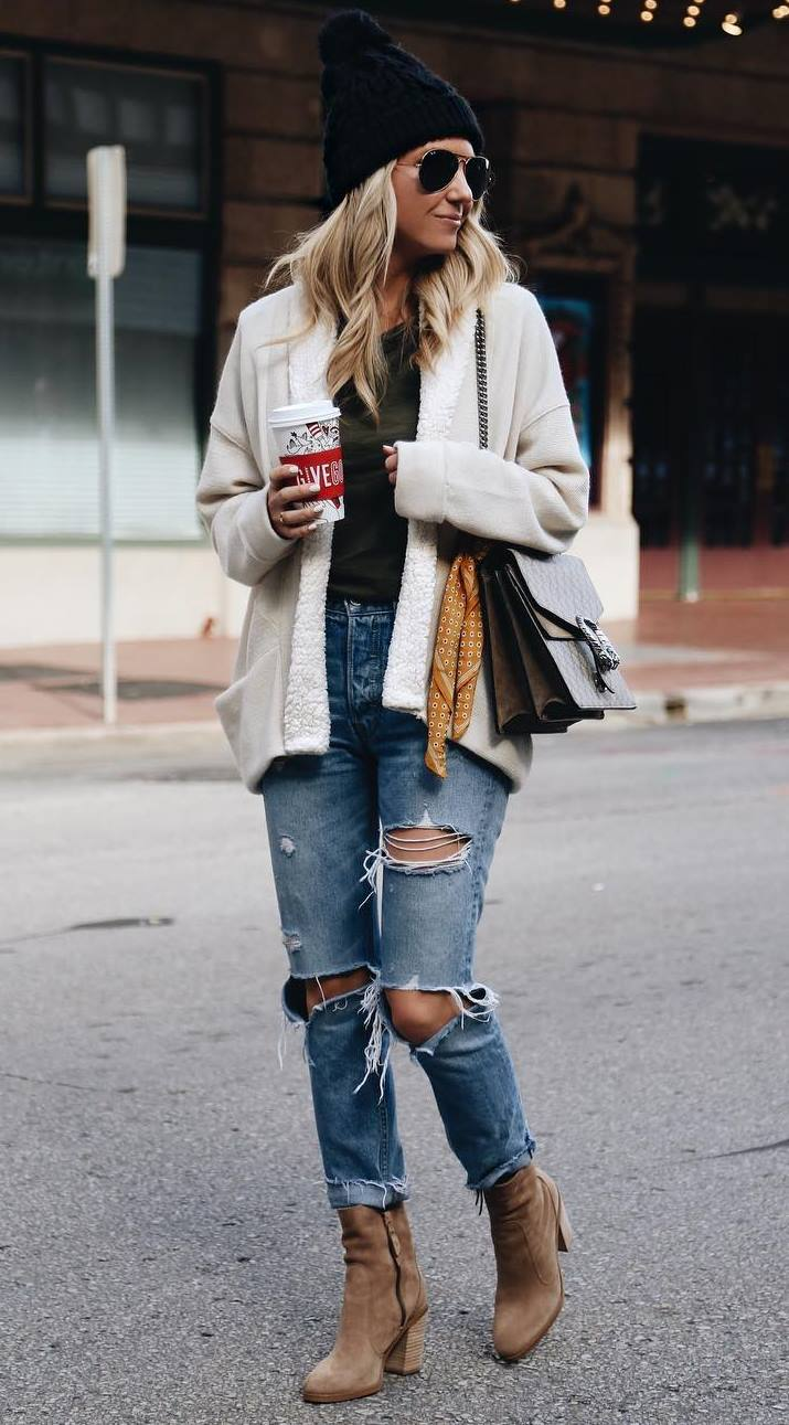cozy fall outfit / knit hat + cardigan + bag + sweatshirt + boots + rips