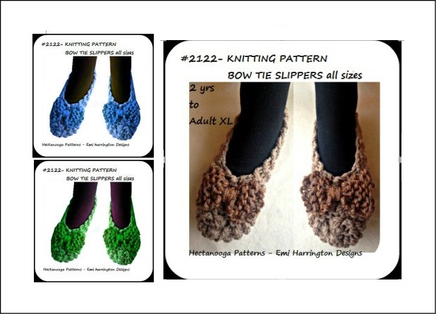 Hectanooga Patterns Free Knitting Pattern Unisex Slippers Bow Tie