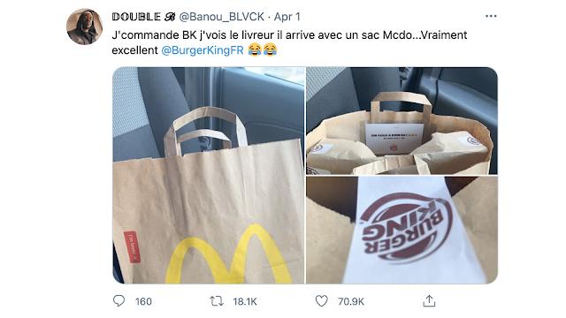 For 1st April, Burger King Belgium Deliver in A Mcdonald's Bag