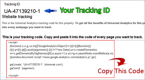 analytics tracking code copy