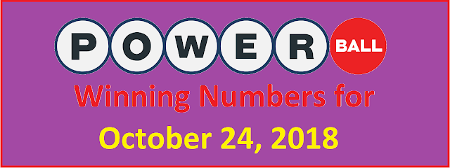 PowerBall Winning Numbers for Wednesday, 24 October 2018