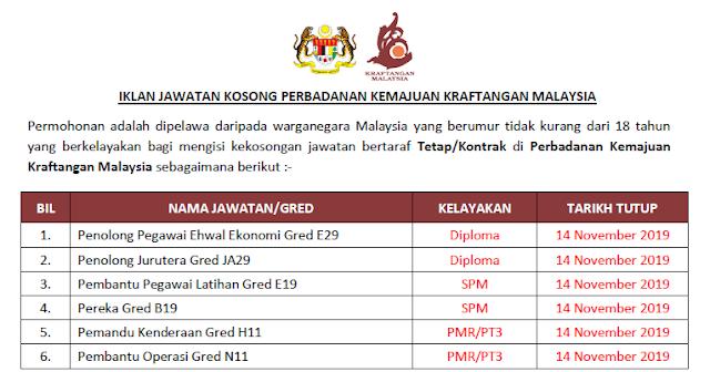 perbadanan kemajuan kraftangan malaysia jawatan kosong