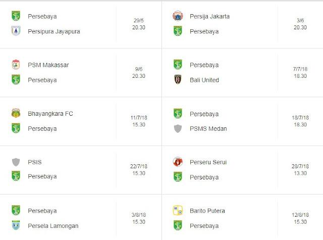 Jadwal Persebaya di Liga 1 Indonesia Terbaru & Lengkap 2018