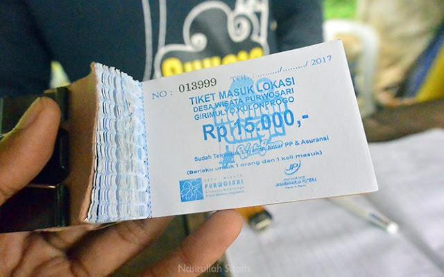 Tiket masuk ke lokasi wisata