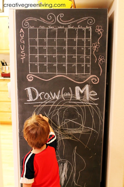 How to Paint Your Fridge with Chalkboard Paint final product