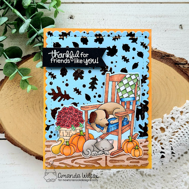Fall Dog and Cat Friendship Card by Amanda Wilcox | Fall Friends Stamp Set, Falling Leaves Stencil, Hardwood Stencil and Frames & Flags Die Set by Newton's Nook Designs #newtonsnook