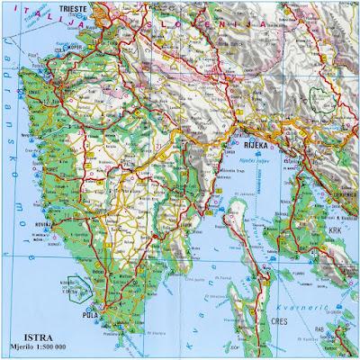 Mapa Istria, Croacia