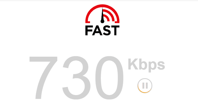 Tes kecepatan internet melalui Fast.com