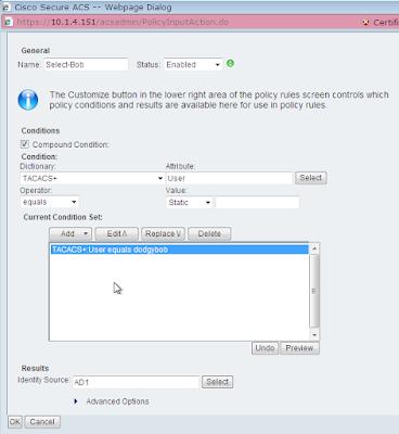 ACS rule select user