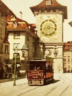 A streetcar with the clock behind it   around the time Einstein lived in Bern