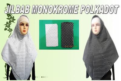 gambar dan model jilbab monokrome polkadot