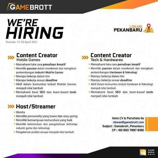 GameBrott Membuka Loker Content  Creator dan Host/Streamer