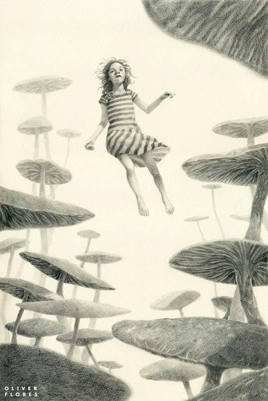 Bellas acuarelas y grafito en la ilustración de Oliver Flores