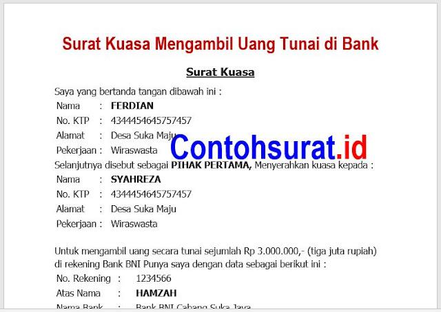 Contoh Surat Kuasa Mengambil Uang Tunai di Bank