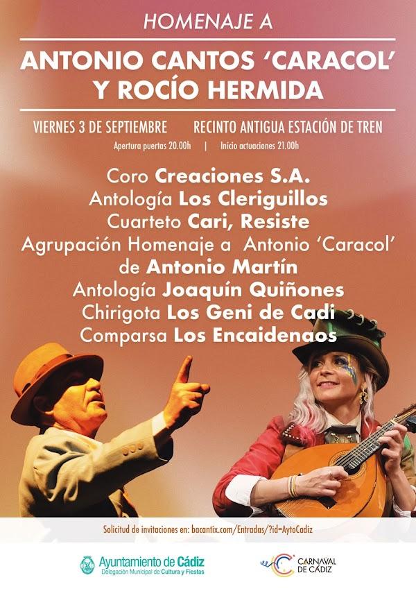 Onda Cádiz emitirá el sábado la Gala de Carnaval en homenaje a Antonio Cantos 'Caracol' y Rocío Hermida