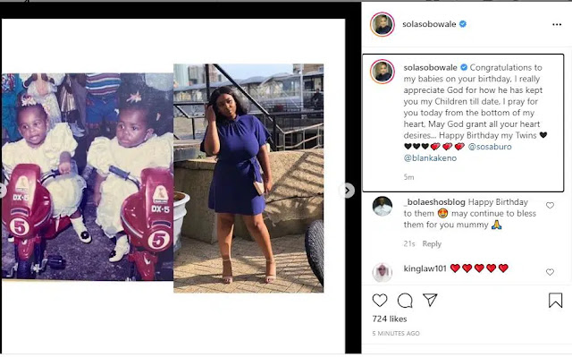 I pray for you today from the bottom of my heart- Sola Sobola celebrates her twins as they turn a year older (Photos)