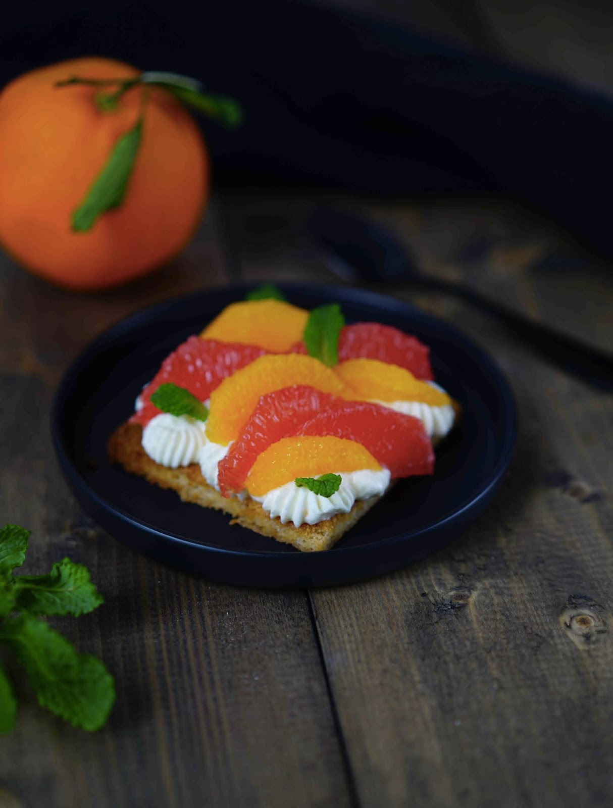 sablé breton , dessert rapide , agrumes , orange , pamplemousse