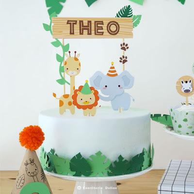 topo bolo safari animais selva festa infantil