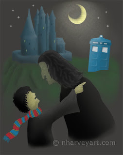 """""""That CAN'T Happen HERE!"""" digital art, police box at wizard school"""