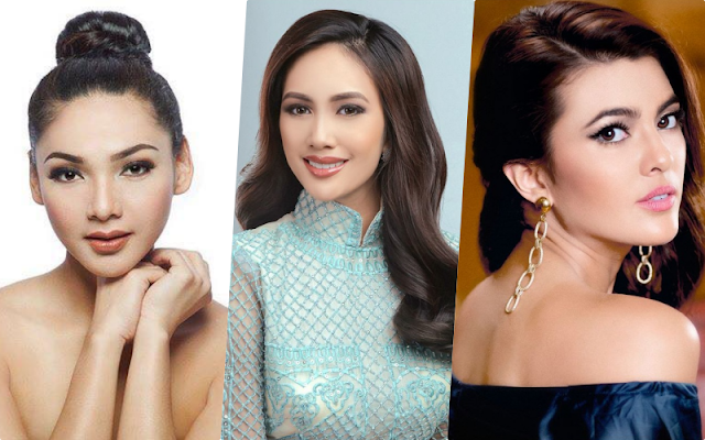 Filipinas in Bronze Pageants (left to right): Jannie Alipo-on (Miss Tourism 2017), Nelda Ibe (Miss Globe 017) and Katarina Rodriguez (Miss Intercontinental 2017)