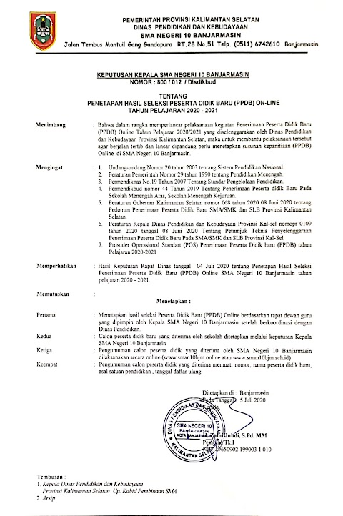 PENGUMUMAN HASIL SELEKSI PPDB SMA Negeri 10 Banjarmasin Tahun Pelajaran 2020/2021