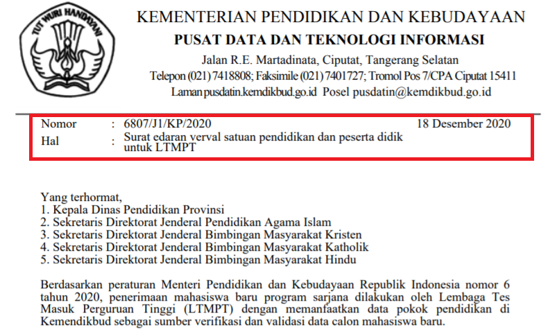 edaran tentang Verval SP dan PD Untuk LTMPT Tahun 2021