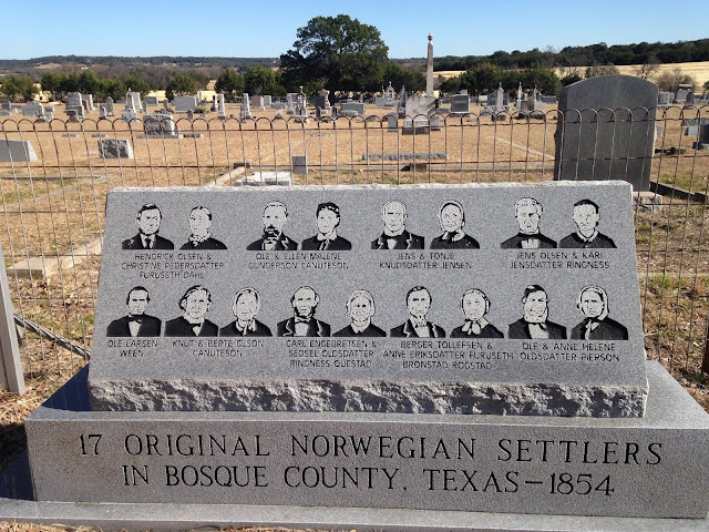 a monument to the original Norwegian settlers who emigrated to Texas in 1854