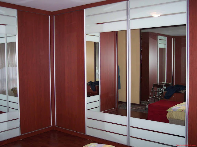 Red colour bedroom cupboard design