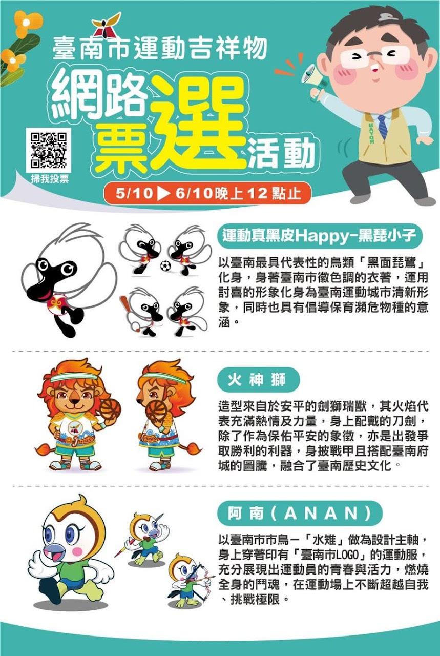 台南市運動吉祥物票選起跑|網路票選抽好康|活動