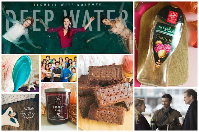 collage - deep water poster, palmolive shower gel, wetbrush detangler, glee poster, ben platt album cover, dw home woodfire apple candle, bourbon brick brownies, bridget jones's baby