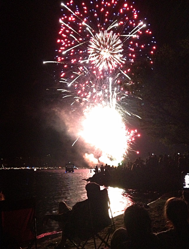 4th of July at Lake Arrowhead, fireworks on the water