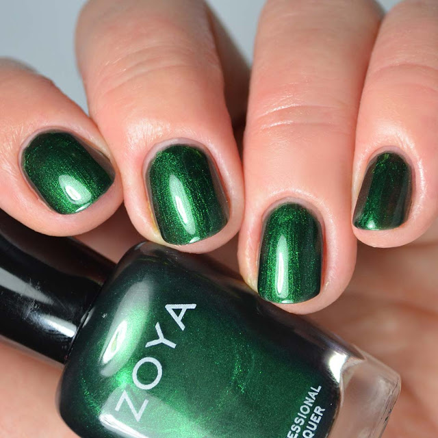 emerald metallic four finger nail polish swatch
