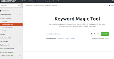SEMRush for keyword research Digital Marketing