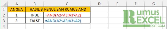 Contoh Rumus / Fungsi AND Excel